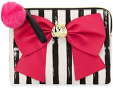 Betsey Johnson Bow and Arrow Striped Bow Pouch Bag, Fuchsia