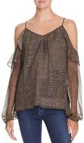 Ramy Brook Misti Printed Silk Cold Shoulder Top