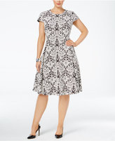 Alfani Plus Size Jacquard-Knit Fit and Flare Dress, Created for Macy's