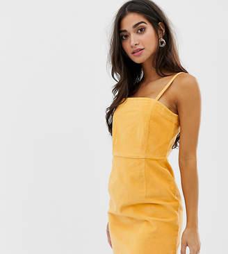 Asos DESIGN Petite cord dress with skinny straps in mustard-Tan