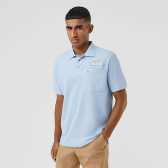 Burberry Swan and Slogan Applique Cotton Polo Shirt