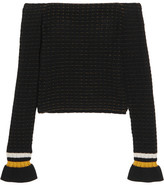 3.1 Phillip Lim Off-the-shoulder Smocked Cotton-blend Sweater - Black