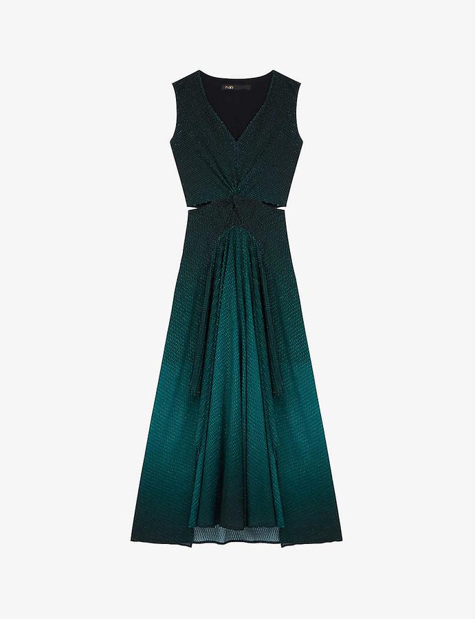 Maje Resio jacquard woven midi dress