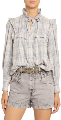 Etoile Isabel Marant Idety Ruffle-Trim Checked Cotton Shirt