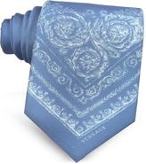 Versace Light Blue Ornamental Baroque Printed Silk Tie