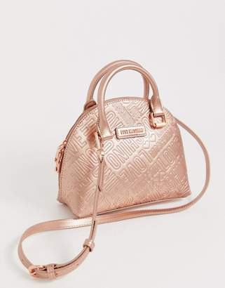 Love Moschino metallic embossed faux leather mini tote bag-Pink