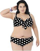 Ensnovo Womens Vintage Dots Plus Size Bikini Push Up Halter Top , 2XL