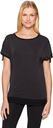 Blanc Noir Women's Ruched Short Sleeve Tee Shirt