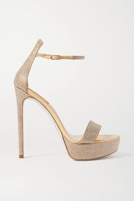 Rene Caovilla Celebrita Crystal-embellished Satin Platform Sandals - Beige