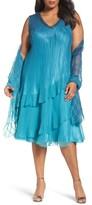 Komarov Plus Size Women's Tiered Chiffon Shift Dress With Shawl