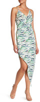 Charlie Jade Print Silk Faux Wrap Midi Dress