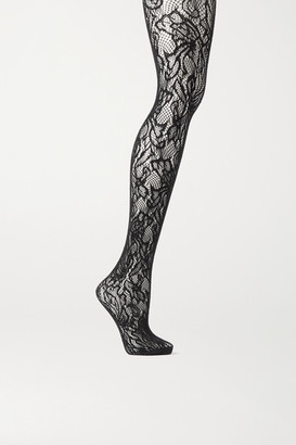 Dries Van Noten Floral Stretch-lace Tights - Black