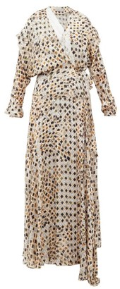 Preen by Thornton Bregazzi Pura Kyoto Woodblock-print Fil-coupe Wrap Dress - Ivory Multi