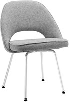 The Well Appointed House Contemporary Grey Dining Upholstered Chair on Sleek Chrome Legs - ON BACKORDER -