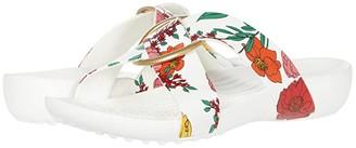 Crocs Serena Printed Cross Band Slide (Floral/White) Women's Slide Shoes