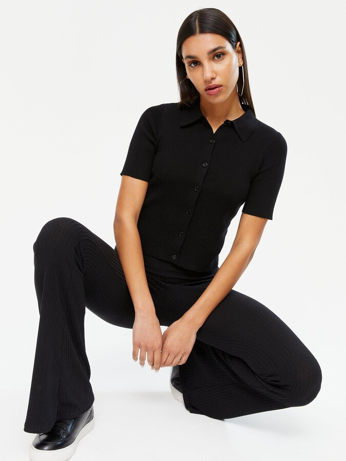 Thumbnail for your product : New Look Half Sleeve Polo Top - Black