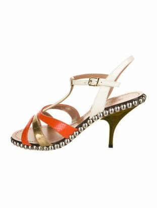 Marni Embossed Patent Leather T-Strap Sandals w/ Tags Orange