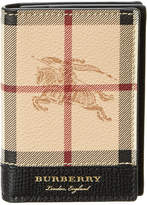 Burberry Flint Haymarket Check & Leather Card Case