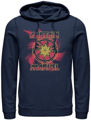Marvel Men's Captain Spiral Paint Splatter Logo Pullover Hoodie