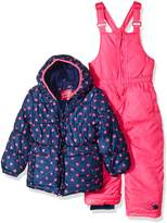Pink Platinum Toddler Girl's Heart Print Snowsuit Outerwear, Navy