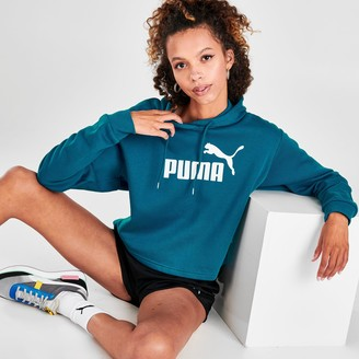 Puma Women's Elevated Essential Logo Fleece Crop Hoodie