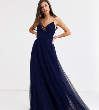 Asos Tall DESIGN Tall cami pleated tulle maxi dress-Navy