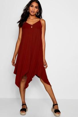 boohoo Asymmetric Hem Strappy Swing Dress