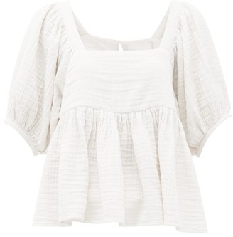 Anaak - Brigitte Peplum-hem Cotton-seersucker Top - White