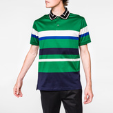 Paul Smith Men's Green Engineered-Stripe Mercerised Cotton Polo Shirt