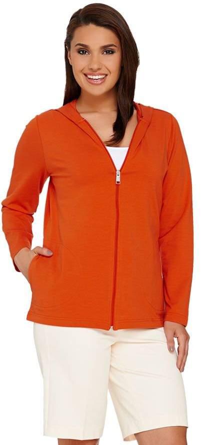 Denim & Co. Essentials Perfect Jersey Zip Front Hooded Jacket