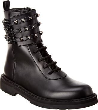 Valentino Rockstud Leather Combat Boot