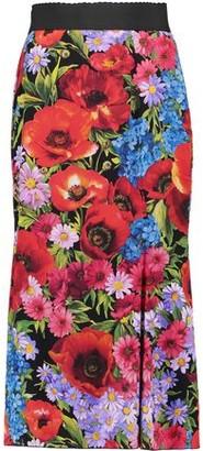 Dolce & Gabbana Fluted Floral-print Stretch-silk Midi Skirt