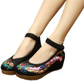 Veowalk Vintage Women's Chinese Style Phonix Cotton Embroidered Casual Wedges Shoes 5cm Heel Canvas Old Beijing Costume Dance Pumps EU40
