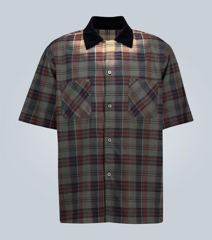 Sacai Short-sleeved checked cotton shirt