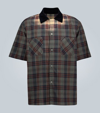 Sacai Short-sleeved checked cotton shirt