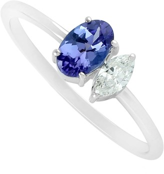 Artisan Two Stone Ring In 18Kt White Gold