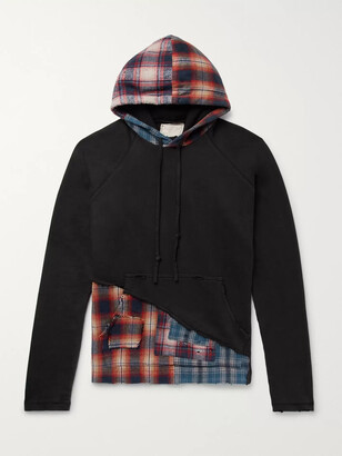 Greg Lauren Panelled Distressed Loopback Cotton-Jersey and Checked Cotton-Flannel Hoodie - Men - Black