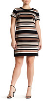 London Times Awning Stripe Side Shift Dress (Plus Size)