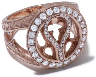Loree Rodkin 14kt Rose Gold Quatrefoil Diamond Pave Ring