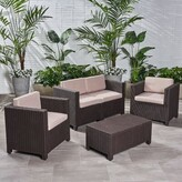 BEIGE Lubuklinggau Multiple Chairs Seating Group with Cushions Wrought Studio Cushion Color / Frame Color Cushions/Dark Brown Frame