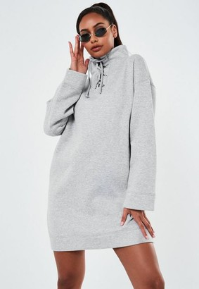 Missguided Marl High Neck Lace Up Sweater Dress