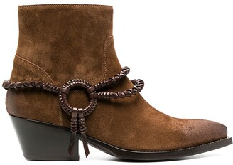 Sartore Braided Leather-Detail Western-Style Ankle Boots