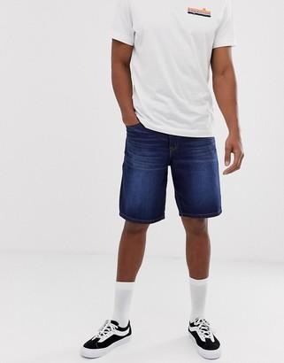 Asos DESIGN skater denim shorts in dark wash blue