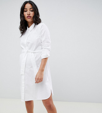 ASOS DESIGN Maternity cotton mini shirt dress with tie belt in white
