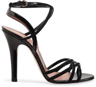 Red(V) Red(v) Patent Leather-trimmed Suede Sandals