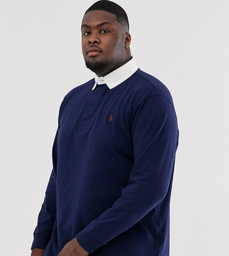 Polo Ralph Lauren Ralph Lauren Big & Tall player logo long sleeve rugby polo in french navy