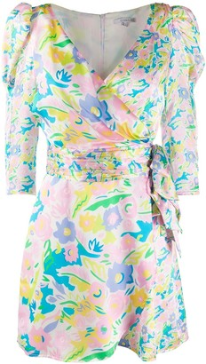 Olivia Rubin Neon Floral-Print Wrap Dress