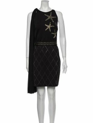 Versace Crew Neck Mini Dress w/ Tags Black