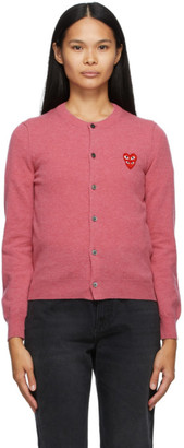 Comme des Garcons Pink Wool Layered Double Heart Cardigan