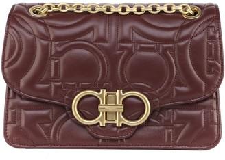 Salvatore Ferragamo Gancini Purple Leather Bag